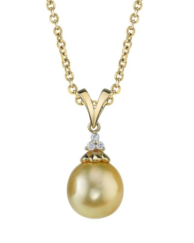 Golden Pearl & Diamond Tracy Pendant by The Pearl Source