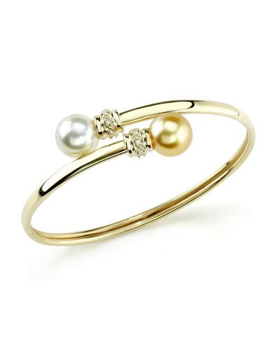 Yellow Gold & Diamond South Sea Bangle Pearl Bracelet