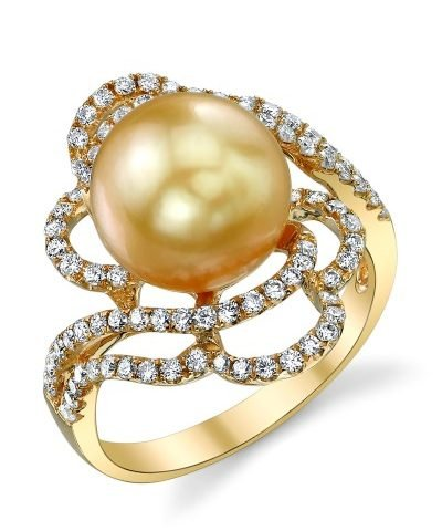 Golden Tahitian South Sea Pearl & Diamond Annabelle Ring from The Pearl Source