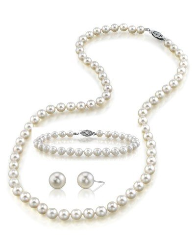 Shop for Japanese Akoya White Pearl Set