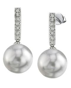 Freshwater Pearl Dangling Diamond Earrings