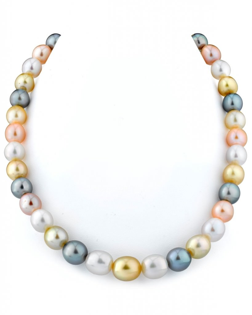 9-11mm South Sea & Freshwater Off-Round Multicolor Pearl Necklace