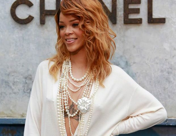 Rihanna is one hot mama in these multilayered strands of pearls.