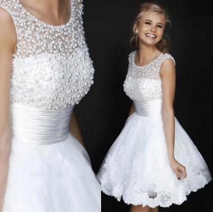 Hot Short Mini Semi Formal Dress Party Gown with A Line Lace Beading and Pearls Embellishments