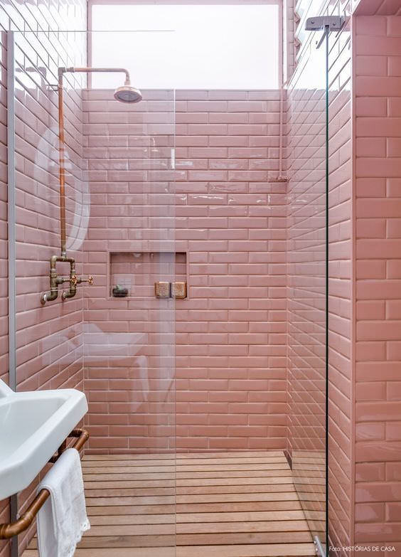 Could this Millennial Pink bathroom shower look anymore inviting?