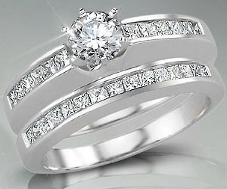 Diamond wedding rings for women set in white gold.