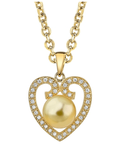 Heart Shaped Golden Pearl Diamond Pendant