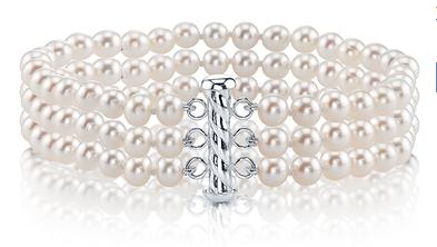 Triple White Freshwater Pearl Bracelet