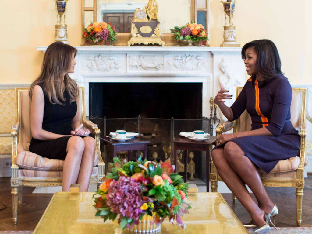 Photo of then-First Lady Michelle Obama having tea in the White House Yellow Oval Room with now-First Lady Melania Trump on Nov. 10, 2016.(Official White House Photo by Chuck Kennedy)