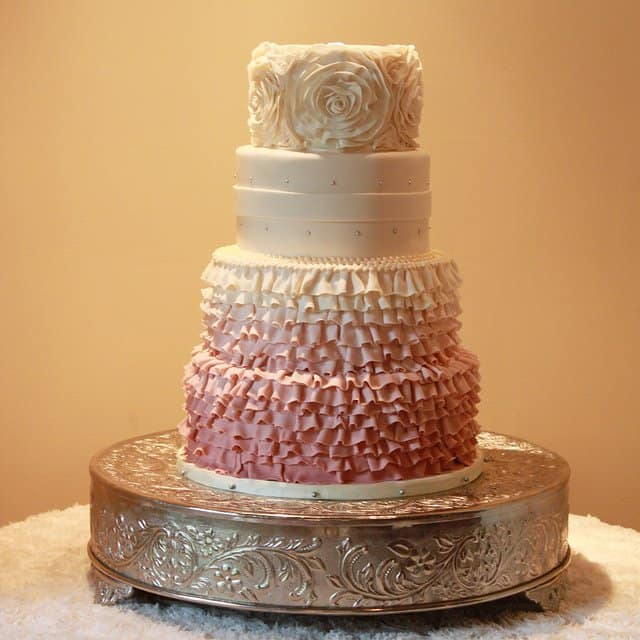 Isn't this an exquisite looking rose ruffled wedding cake?