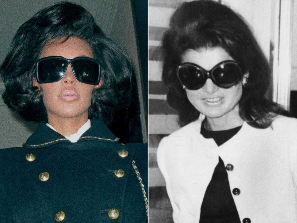 Kim Kardashian wearing Jackie O's world famous sunglasses.
