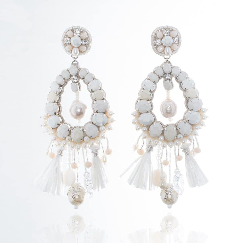 B17-504E white statement earrings by Ranjana Khan