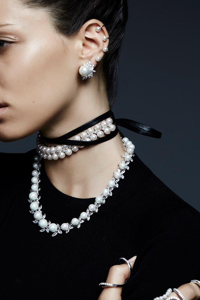 Check out this gorgeous pearl and leather wrap choker from Fallon Jewelry