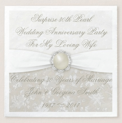 Customize your 30th pearl wedding anniversary invitations to feature your pearl theme.