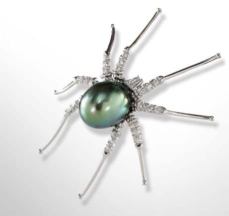 Halloween Wedding Jewelry Ideas: Diamond & Tahitian Pearl Spider Pin
