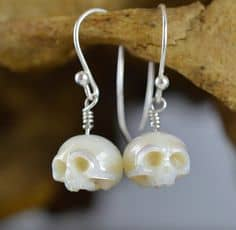 Halloween Wedding Jewelry Ideas: Hand Carved Skull Pearl Earrings