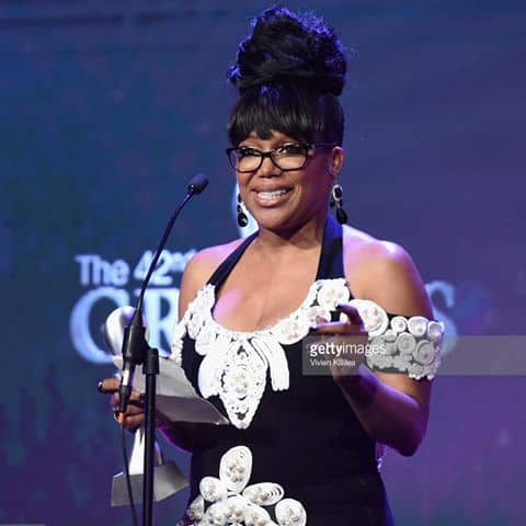 Straight Out of Compton's Michel'le Accepts Her Gracie Award Wearing a Black Dress Embellished with White Pearls
