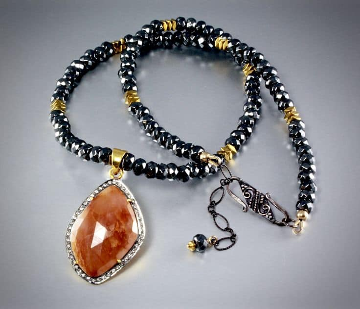 Halloween Wedding Jewelry Ideas: Orange Sapphire Necklace