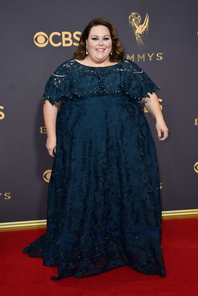 Who Wore Pearls? Chrissy Metz wore a pearl embellished dress and pearl earrings to the Emmy's.