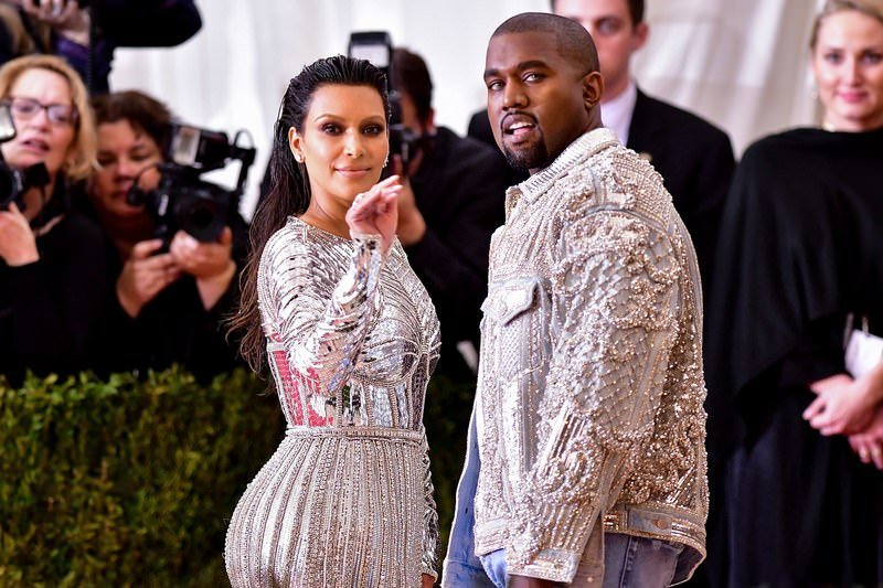 Kanye West wore a custom-created pearl embellished jeans jacket to a Met Gala with wife Kim Kardashian.