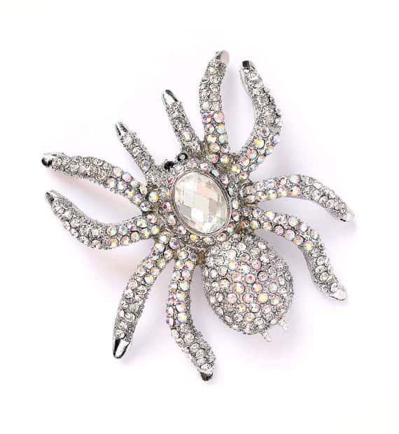Halloween Wedding Jewelry Ideas: Rhinestone Spider Broach