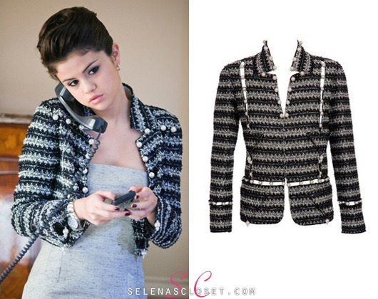 "Selena Gomez wore this pearl tweed jacket in her ""Cordelia"" role in Monte Carlo. Look how awesome tweed looks embellished in pearls."