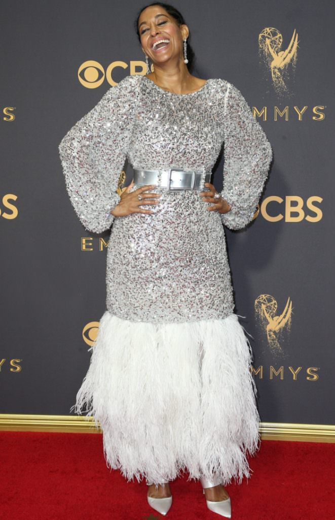 Who Wore Pearls? Drop pearl earrings add the perfect finishing touches to Tracee Ellis Ross' look at the Emmy's 2017.