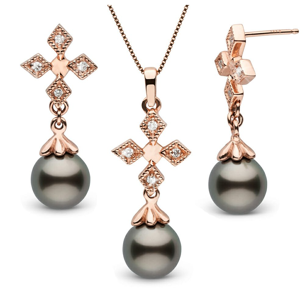 Check out these daring looking Black Tahitian Pearl Pendant Earrings and Necklace.