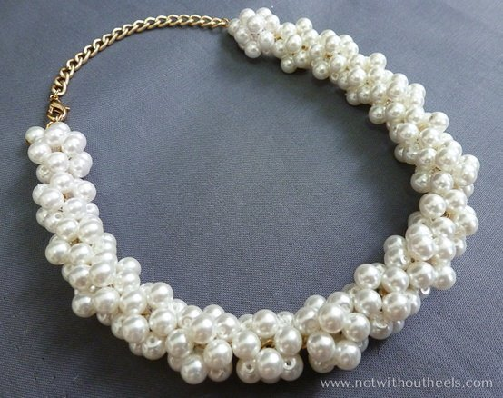 Chain and Bunched Pearl Necklace
