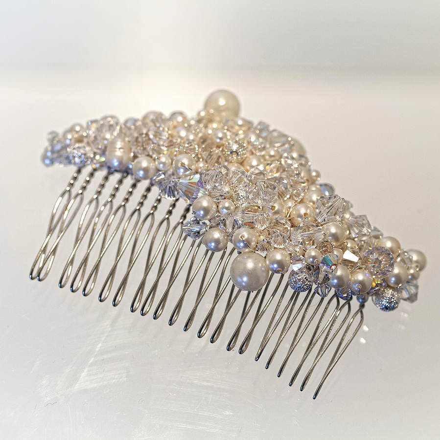 Hair Comb Made With Swarovski Crystal And Pearls
