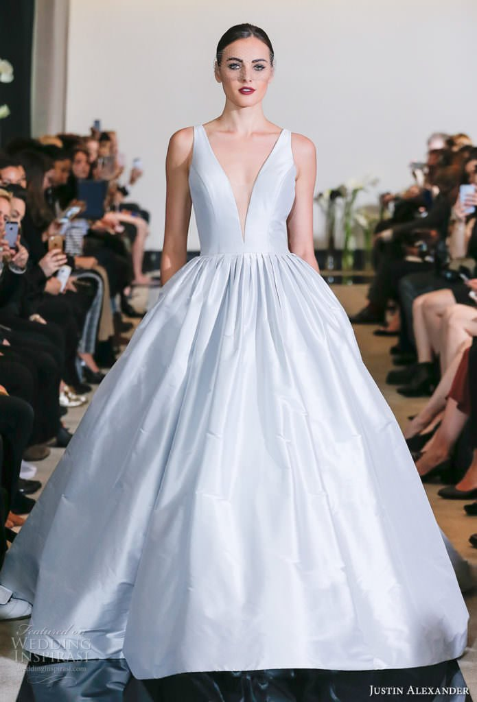 Justin Alexander Spring Wedding Dresses. White satin will still be the wedding dress trend in 2018.