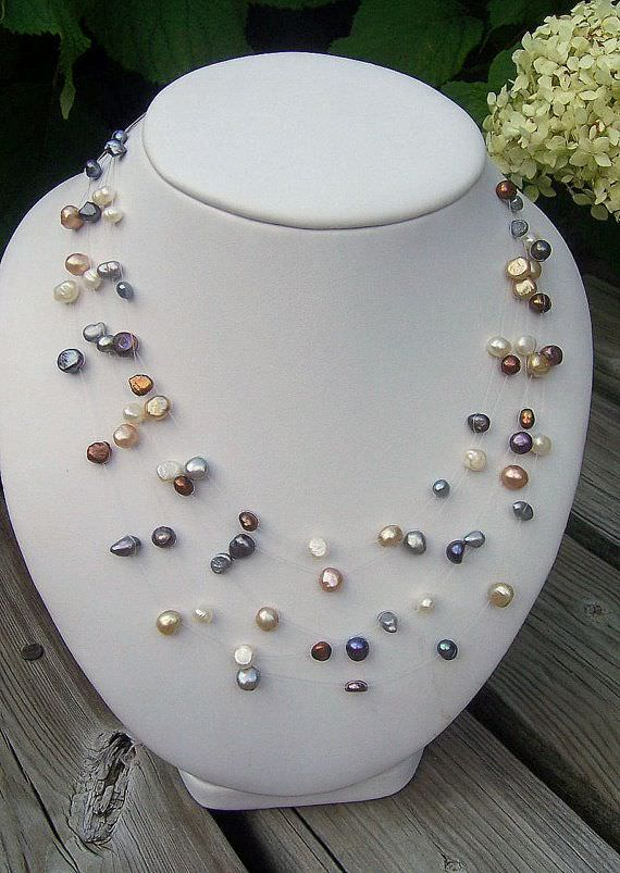 Multicolored Floating Pearls Illusion Necklace