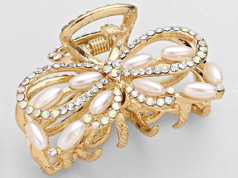 Pearl Jewel Bow Hair Claw Clip