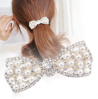 Pearl Zicron Sparkling Bow Hair Clip