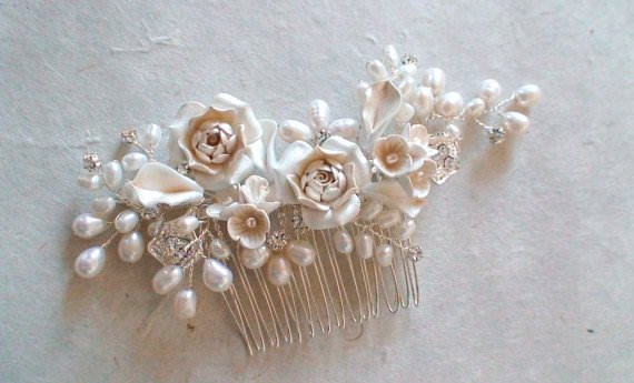 Pink & White Rose & Pearl Hair Comb