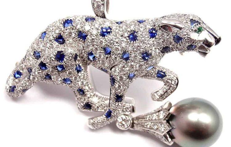 Platinum Panther Diamond, Sapphire & Pearl Brooch
