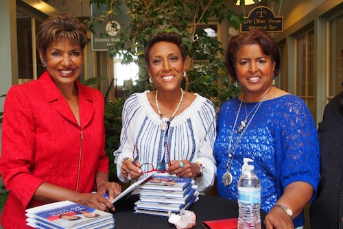 Sisters Sally-Ann Roberts, Robin Roberts (anchor of ABC's Good Morning America) and Dorothy Roberts. Is that a pearl necklace around Robin's neck?