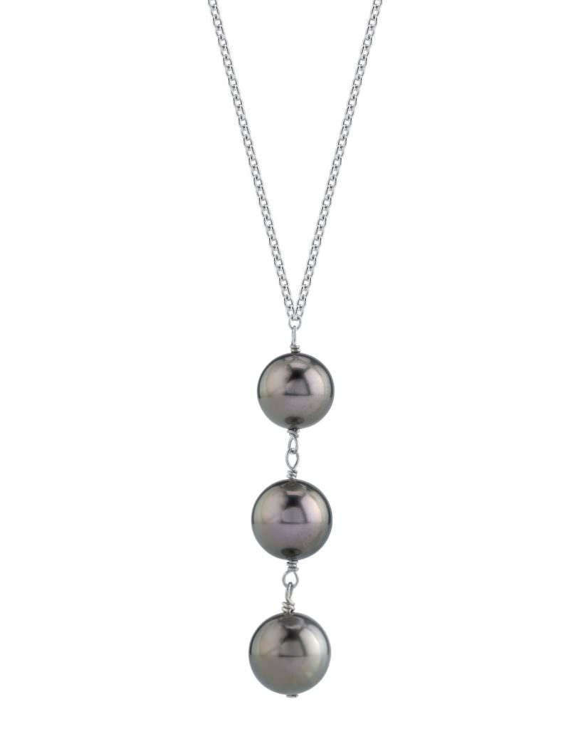 Triple South Sea Pearl & Diamond Pendant by The Pearl Source