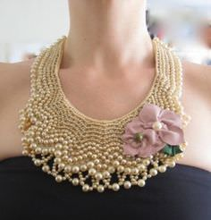 This DIY pearl necklace was created to look just like a vintage dress collar.