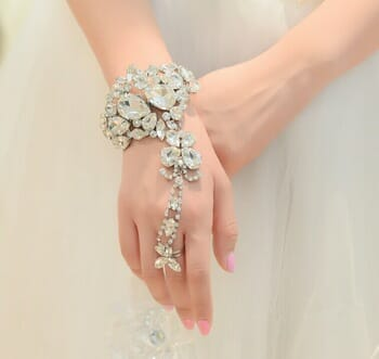White Diamond Hand Bracelet for Brides