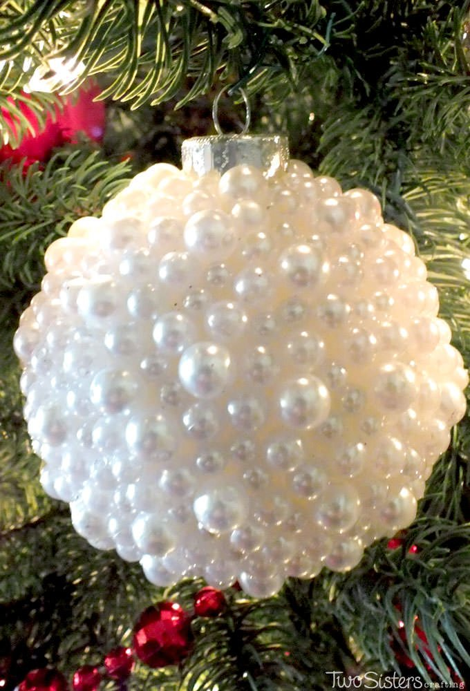 Just imagine this DIY pearl Christmas ornament ball would look with gems in festive or your favorite colors.