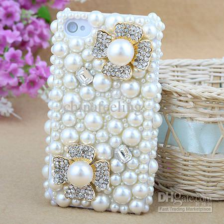 DH Gate Flower Cell Phone Case Embellished in Pearls