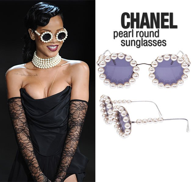 Rihanna wearing her vintage Chanel pearl rimmed round sunglasses. You can recreate these on your own using DIY techniques.
