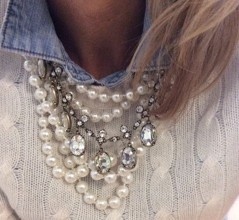 Layered pearls with metal metal and other gemstones.