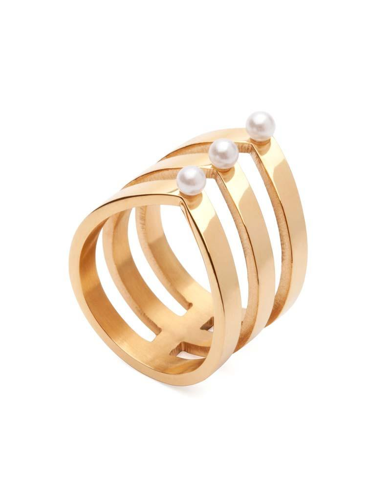 Amber Sceats Layered Pearl & Gold Ring