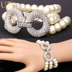 Layered Pearl Bracelet with Rhinestone Connector