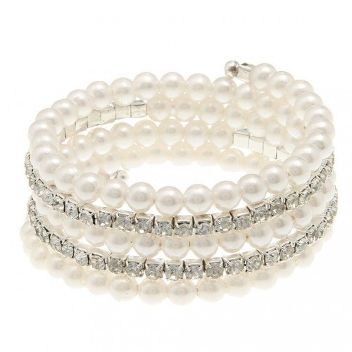 Layered diamonds and pearls bracelet