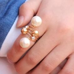 Layered pearl ring