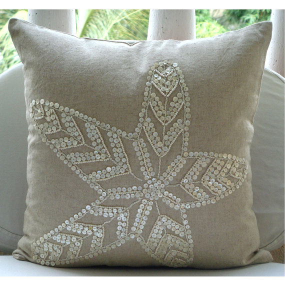 Pearl Embellished Throw Pillow