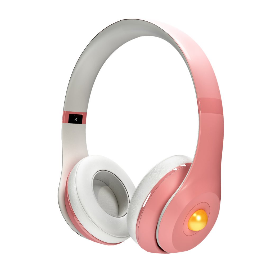Pink Pearl Headphones with Golden Gem
